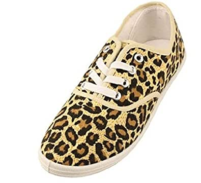 womens leopard animal print canvas laced