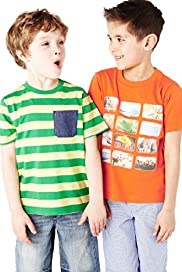 2 Pack Pure Cotton Short Sleeve T-Shirts with Stay New&#8482;