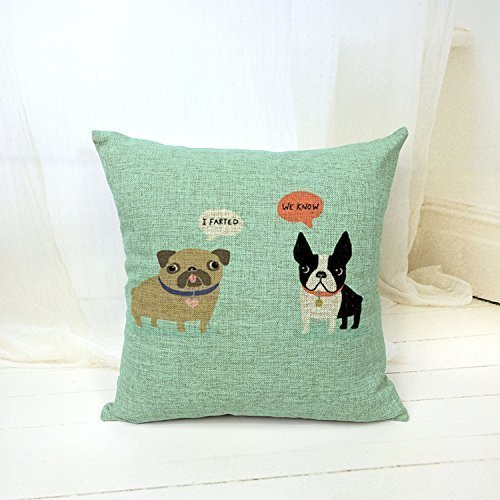 B Lyster shop English Bulldog French Bulldog Dogs Cotton & Polyester Soft Zippered Cushion Throw Case Pillow Case Cover by B Lyster shop (English Bulldog Throw Pillows compare prices)