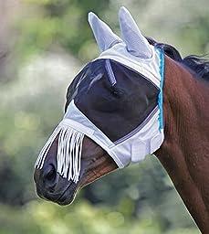 Shires Fine Mesh Fly Mask With Ears & Fringe, Black - Pony