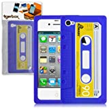 Tigerbox Retro Silicone Cassette Tape Style Case Cover Skin For Apple iPhone 4 / 4S With Screen Protector (Blue)