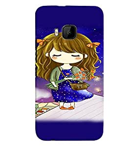 Fuson Premium Girl With Roses Printed Hard Plastic Back Case Cover for HTC One M9