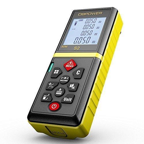 DBPOWER-60M197FT-Laser-Entfernungsmesser-Praktischer-Laserdistanzmesser-mit-Stummschaltefunktion-und-entfernbarem-Clip-Gelb