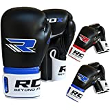 RDX Maya Hide Leather Boxing Gloves Gel Punching Bag Glove Sparring Training Mitts Muay Thai F2