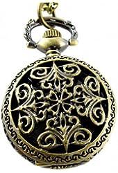 Youyoupifa Bronze Openwork Cover Stylish Retro Design Quartz Pocket Watch NBW0PN7137-CO3
