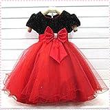 【ノーブランド品】黒に真っ赤なスカートがゴージャス キッズドレス 子どもドレス ハードチュールパニエ内蔵 ((12)140-150cm 肩幅28cm 胸囲66cm 胴囲70cm 身丈27cm 総丈80cm 腕周り30cm)