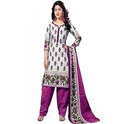 Sanjana Women's White Cotton Unstitch Embroidered Designer Dress Material (SC8702_Free Size_White & Pink)