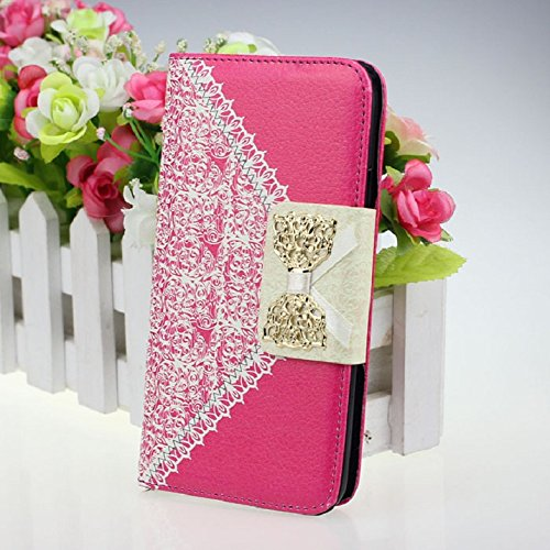 ABC Hot Pink Fashion Girl Woman Fresh Sweet Cute Flip Wallet Leather Case Cover for Samsung Galaxy S5 I9600