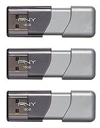 PNY Turbo 16GB USB 3.0 Flash Drive, 3-Pack (P-FD16GTBOPX3-GE)