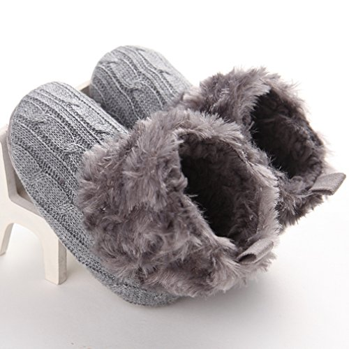 Annnowl Baby Girls Knit Soft Fur Winter Warm Snow Boots Crib Shoes 0-18 Months (0-6 Months, Gray)