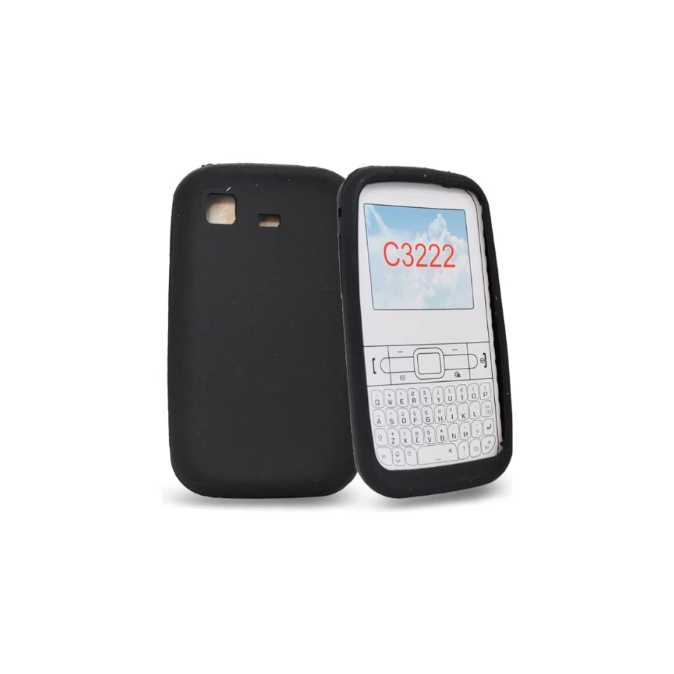 Mobile Palace   Black silicone case cover pouch holster for samsung chat s3322 (not for 3350)