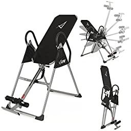 ALPINE© Inversion Table Deluxe Fitness Chiropractic Back Pain Relief Exercise Gravity, (Black)
