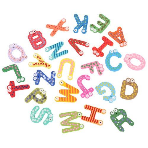 Generic Baby Kid Wooden 26 Letter Alphabet Number Fridge Magnet Sticker Educational Toy front-1063893