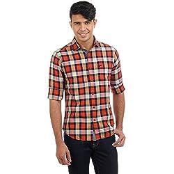 Sting Orange Checked Slim Fit Cotton Casual Shirt