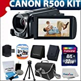 Canon VIXIA HF R500 Full HD Video Camcorder (Black) With Extra Battery + Case + 32GB Class 10 Memory Card With Must Have Accessory bundle