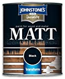 Johnstones Specialty Paints Flat Matt Black Non Reflective Paint 750ml