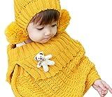 子供服 女の子 可愛い クマさんの付き ケープと ニット 帽子 のセット ピンク ランキングお取り寄せ
