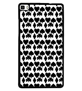 Fuson Premium Pack of Cards Metal Printed with Hard Plastic Back Case Cover for Huawei P8