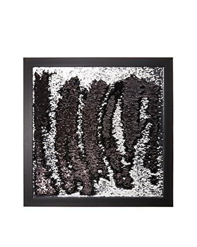 Aviva Stanoff Two-Tone Sequined Sketch Framed Art, Silver/Black