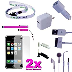 iPhone 4G/4S Accessory Kit Two Stylus Pens Pink,USB Charging Cable,Car Charger,Wall Charger,Two Scr