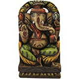 Divya Mantra Wall Decor Hand Carved Single Piece Wooden Chintamani Ganesha