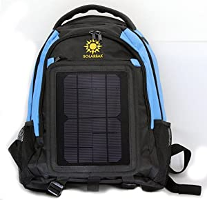 SolarGoPack 12k, solar powered backpack, charge mobile devices, Take Your Power with You, 12,000 mAh Lithium Ion Battery - Stay Charged My Friends !!, Black with Blue