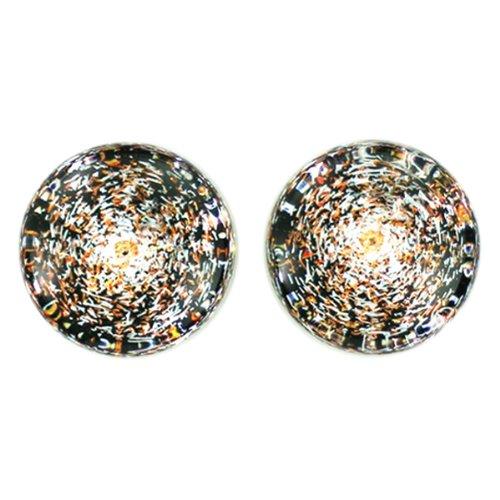 Copper Color Foil Galaxy Glass Plugs - Double Flare - 9/16