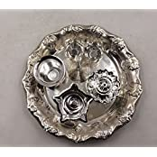 Qubic Inc Handmade Decorative Silver Plated Pooja Thali Aarti Thali Set Of 6 Pieces With Gift Box Packing For...