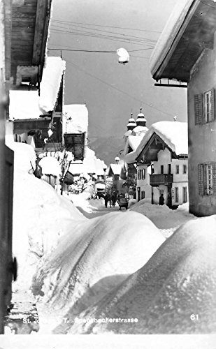 Tirol Austria Wintersportplatz Street Scene Real Photo Antique Postcard J36870