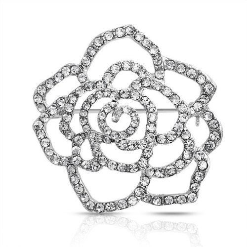 Bling Jewelry Pave Clear Crystal Outline Flower