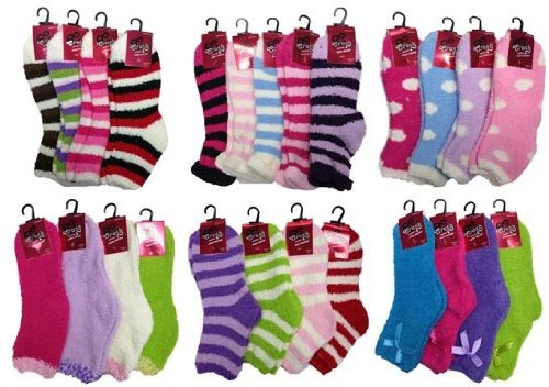 GirlS Fuzzy Ankle Sock Mega Mix (Size 6 - 8) [144 Pieces] *** Product Description: Why Pick Just One Style When You Can Have Them All? This Is An Assortment Of All Our Crush Cozy Sock Brand GirlS Fuzzy Ankle Socks. These GirlS Fuzzy Ankle Sock ***<br />