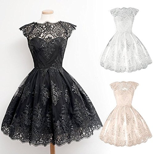 [Retro Gothic Girl Waisted Lace Party Dress Cocktail Lolita Princess Bubble Skirt] (Goth Dress)