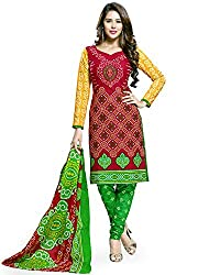 Snapyshopy Designer Red Printed Cambric Cotton Straigth Suit