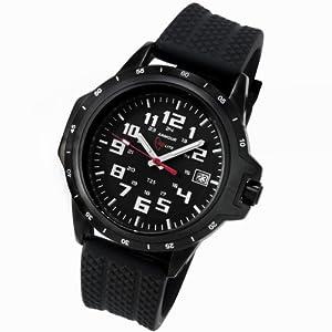 Armourlite ColorBurst Shatterproof Scratch Resistant Glass White Tritium Watch 10 yr battery w/ Black Rubber Band AL220-R