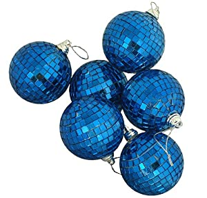 "Pack of 6 Ocean Blue Mirrored Glass Disco Ball Christmas Ornaments 1.5"" (40mm)"