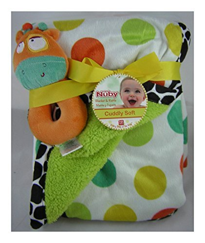 Nuby Animals Cuddly Soft Baby Blanket Manta and Giraffe Rattle Toy