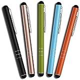 Mobilinyi 5 St�ck Premium Eingabestift Touchstift Stylus f�r iphone 6 5 4 4s, ipad 4 3 Mini, Samsung Galaxy und alle Tablets Smartphones, Farbe: schwarz gold gr�n blau orange
