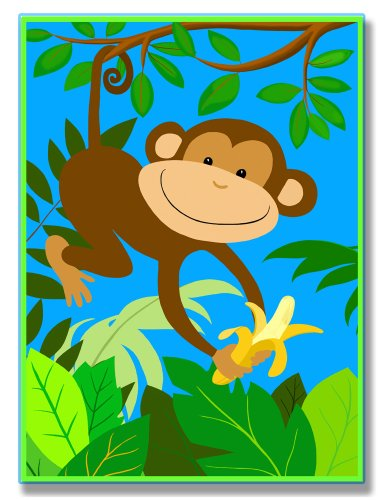 The Kids Room by Stupell It's a Jungle Out There Monkey Rectangle Wall Plaque