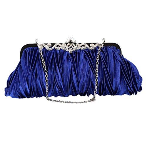 Smarstar Womens Vintage Satin Envelope Evening Cocktail Party Handbag - Royal Blue
