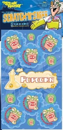 Dr Stinky's POPCORN Scratch-n-Sniff Stickers, 2 sheets 4 x 6 3/4, 26 stickers