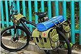 DCCN-Fahrradtasche-Satteltasche-Fahrrad-Gepcktrgertasche-Super-Design-2-in-1-M-Wave-Hinter-Koffer-mit-Reflektorstreifen-37-x-20-x-32-cm-45L-Militrgrn