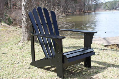 Painted Black Cedar Outdoor Adirondack Chair Lounger with FREE OTTOMAN
