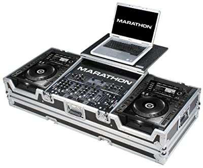Marathon Flight Road Case MA-CDJ2K19WLT Coffin Holds 2 x Large Format CD Players: Pioneer with 12-Inch Mixer and Laptop Shelf with Wheels