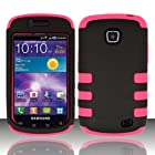 2 Layered Plastic + Silicone Black On Pink Snap On Case For Samsung Galaxy Proclaim / Illusion i110 (StopAndAccessorize)