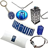 The Doctor Gift Pack. Tardis Necklaces, Gallifreyan Keyring, Bracelets and Pin in Gift Pack