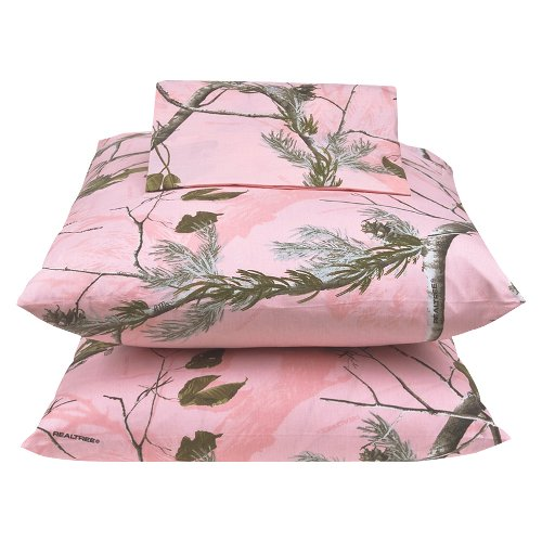 Queen Size Pink Camo Camouflage Sheet Set