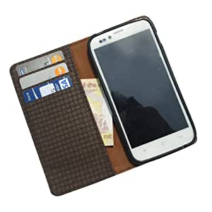 i-KitPit - PU Leather Wallet Flip Case Cover For Levono A369i (BROWN)