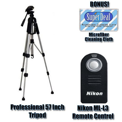 Nikon ML-L3 Remote Control for Nikon D40, D40x, D60, D80 & D90 Digital SLR Cameras + Zeikos 57 Inch Full Size Tripod with Exclusive FREE Complimentary Super Deal Micro Fiber Cleaning Cloth