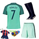 Soccer Kids 2016-2017 Portugal Away Football Soccer Kits Jersey Short Sleeve & Shorts & Socks & Key Chain 3-14 Years (RONALDO 7, 5-6 years )