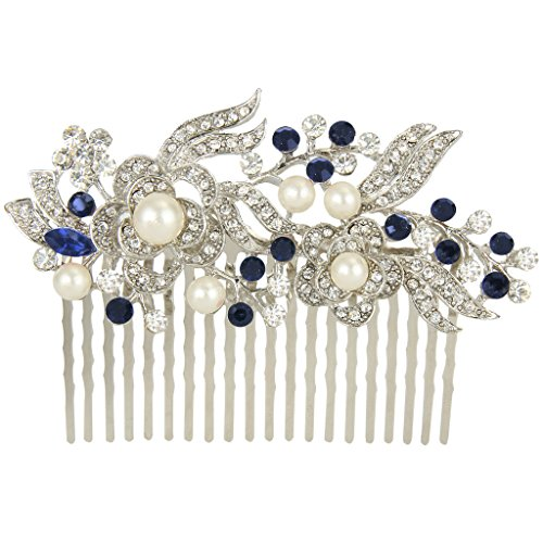 EVER FAITH® Cream Simulated Pearl Austrian Crystal Bridal Flower Hair Comb Blue Silver-Tone